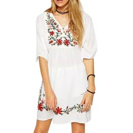 Barato Vestido Bordado Elegante Das Mulheres-Mulheres Mexicano Étnicas Embroidered Pessant Hippie Dress Moda O-neck Short Sleeve Elegante Loose Casual Dress vestidos Plus Size