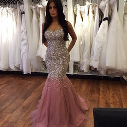 Barato Vestido De Baile De Finalistas-Fotos reais Abendkleider 2017 Gorgeous Long Mermaid Pink Evening Dresses com Sequins e Cristais Completos Lace Up Back Prom Gowns