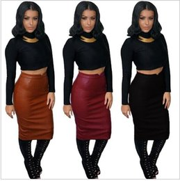 Sexy Et Sexy Pas Cher-Hot Sale Women Soft PU Leather Skirt Haute taille Slim Hip Pencil Jupes Vintage Bodycon OL Midi Jupe Sexy Clubwear Plus Size