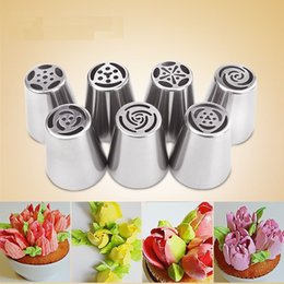 $enCountryForm.capitalKeyWord Australia - 7PCS Stainless Steel Russian Tulip Icing Piping Nozzles Pastry Decorating Tips Cake Cupcake Decorator Rose Kitchen Accessories