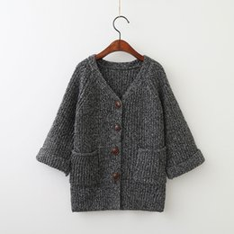 Pulls Tricotant Mignons Pour Filles Pas Cher-Everweekend Girls Knitted Grey Sweater Cardigans Western Fashion Crochet Coats Pockets Cute Baby Outlet Outlet Pull Outwears