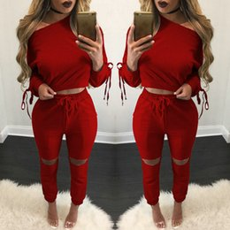 Wholesale new clothing low price for sale – custom 2017 New Arrival Womens Clothing Low Price Casual Wear spring style sweat shirt Lace up tracksuit women Long Pants Set Sports Cotton Suit