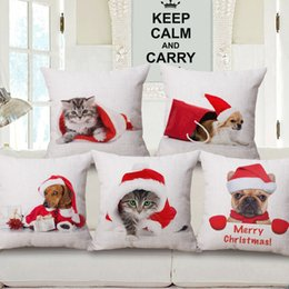 $enCountryForm.capitalKeyWord NZ - Dogs Cats In Christmas Hat Cushion Covers Bulldog Pug Chihuahua Dachshunds Dog Cat Pillow Cover Decorative Linen Cotton Pillow Case Gift