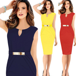 Cotton Night Dress For Ladies Canada - New arrival latest office dress for ladies summer sleeveless metal v neck midi dress straight plus size pencil dress with size XXXXL WD014