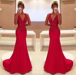 Gracieux Sexy Pas Cher-Graceful Mermaid Red Robes de soirée Spaghetti Strap V-Neck Satin Beading Design Custom Made Formal Prom Dresses