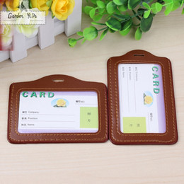 Wholesale Lanyard Card Holders Canada - 2017 PU Lanyard Women Card Case Holder Portable String Fashion ID Bus Identity Badge with Lanyard Porte Carte Credit