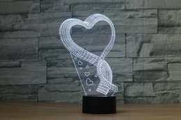 Kostenloser Versand Romance Love Shaped Handmade 3D Bulbing Illusion Lampe LED Stimmungslicht Valentinstag Geschenke