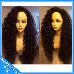 Discount synthetic afro hair braid Long Afro Kinky Curly 1# synthetic Lace Wig For Black Women High Quality braided synthetic lace front wig loose curly with baby hairs