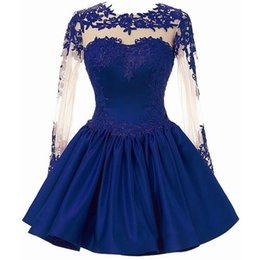 Chinese  2017 Royal Blue Short Homecoming Dresses With Sleeves Appliqued Lace Sexy Mini Graduation Party Dress For Girls Cheap Price manufacturers