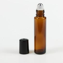 Roller Perfume Bottles 15ml UK - 15ml 1 2OZ Refillable Perfume Vials Brown Roller Ball Perfume Bottle Empty Essential Oil Bottle Stainless Steel Roller Ball Free ShippIing