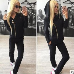 Slim White Sports Jacket Canada - hot!!2017 Women's spring autumn sexy zipper tracksuits casual long-sleeved jacket coat female color two pieces sports suit M88#