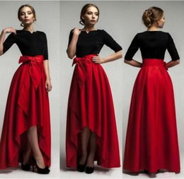 Barato Saias Elegantes Do Partido Formal-Elegant Red Taffeta High Low Saias para Mulher 2015 New Fashion Cintura Belt Andar Comprimento Girls Long Skirts Custom Made Formal Party Dresses