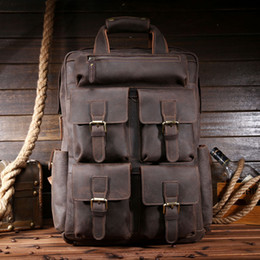 Wholesale- High Quality Men Cow Genuine Leather Backpacks Crazy Horse Leather  Travel Bags Large Capacity Casual Handmade Backpacks 9065A d14278133ac32