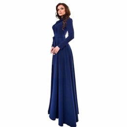 Discount short gown dresses fit - Wholesale- Lady Dresses Women Chiffon Long Sleeve Slim Fit Dress Party Long Maxi Gown Dresses