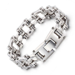 Movie Steel Canada - 16mm Heavy High Quality Crystals Titanium Stainless steel Gold Silver Punk Biker Motorcycle Chain Link Large Bracelet Men's holiday Gifts