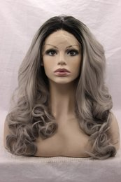 $enCountryForm.capitalKeyWord Canada - Two Tones Synthetic Lace Front Gray Silver Ombre Half Hand Tied Sexy Wavy Wigs Dark Roots 3Inch Heat Resistant Fiber Hair 150%