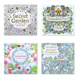 4 Designs Adult Coloring Books Secret Garden Animal Kingdom Fantasy Dream Enchanted Forest 24 Pages Kids Painting Colouring Book