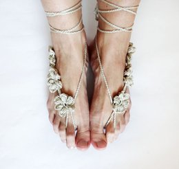 $enCountryForm.capitalKeyWord NZ - Beach Crochet wedding Barefoot Sandals Pure Hand-knitted Crochet Barefoot Sandals Jewelry Lace-up Barefoot Sandals Beach Wedding Party Ankle