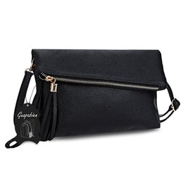 Chinese  Women Envelop Bag Summer Tassel Solid Hasp Zipper Shoulder Messenger Wrist Bag for Women Foldable Crossbody Bag manufacturers