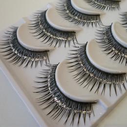 Eyelashes Glitters Canada - Natural False Eyelashes Bare Silver Sequins Glitter Makeup False Eyelashes Stage Makeup Bridal Makeup Thick False Eyelashes
