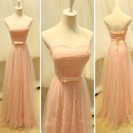 Robe De Bal À Bas Prix Pas Cher-Gorgeous Custom Made Blush Robes de bal Long Robes de soirée pas cher à la dentelle Tulle Sweetheart sans manches Corset Lace up Back Floor Length