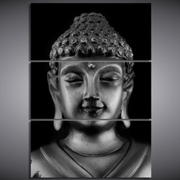 Canvas Prints Free Shipping Australia - 3 Pcs Set Framed Printed buddha statue Painting Canvas Print room decor print poster picture canvas Free shipping NY-6283