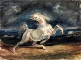 white horse oils NZ - Framed White Horse struck by lightning-By sunset ocean landscape,genuine Handpainted Equestrian Art oil Painting On Canvas Multi sizes HS055