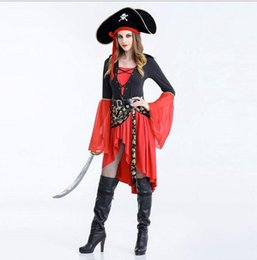 Barato Roupas De Cosplay Piratas-Halloween New Fashion Women Pirate Costume Adulto Cosplay Dress Party Outfit Europe e América estilo Club queen clothing free shipping
