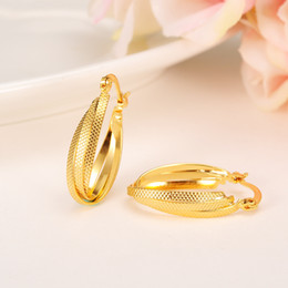 Trendy Küpe Kadınlar 24 K Sarı Gerçek Katı Altın Gf Takı Arap Orta Doğu Afrika Hint Brezilya Dubai Mücevher Teknolojisi Tutmak