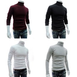 Barato Luva Longa Malha Tops-Atacado- Moda masculina Tricotado Rolo Turtle Neck Pullover Long Sleeve Slim Fit Sweater Top