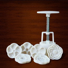 Fondant Flowers For cakes online shopping - Chinese Lotus Flowers Shape Mooncake Mold Set Fondant Candy Green Bean Concave Cake Mould Barrel for DIY Baking ZA3471