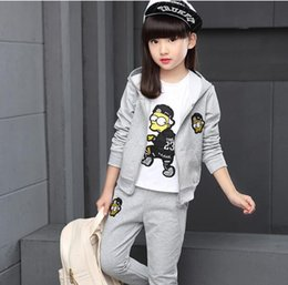 sport tee children Canada - Hot style Children clothing autumn and winter girl sports leisure suit three piece of Hoodie zipper jacket Tee and trousers W17JS213