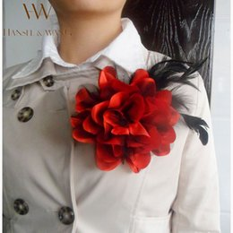 Wholesale New Flower Feather Brooch Hair Accessories Wedding Corsage Large Brooches for Women and Men Broches Jewelry Fashion Rooch XZ12