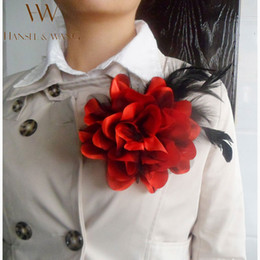 Discount gold flower brooches - Wholesale- New Flower Feather Brooch Hair Accessories Wedding Corsage Large Brooches for Women and Men Broches Jewelry F