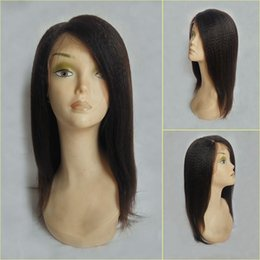 straight human hair wigs side part NZ - side parting 8-26 inch natural color italian human hair yaki straight full lace front wig single donor virgin hair lace wigs