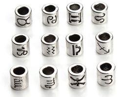 60 unids / lote 12 constelación y Signo del zodiaco Diseño Plateado Plata Antigua Granos del espaciador Fit Charm Bracelet 7.5x7.5mm F3061 en venta