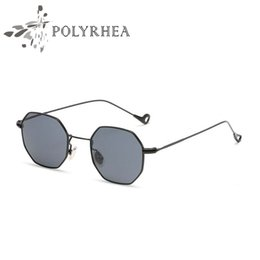flat mirrors Canada - Fashion Vintage Polygon Sunglasses Women Brand Designer Metal Frame Square Sun Glasses Flat Lens UV400 Mirror With Box And Cases