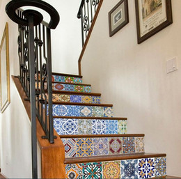 StickerS decoration StairS online shopping - 3D DIY Mexican Talavera Tile stair stickers cm cm Set PVC Sticker Removable Waterproof Wallpaper Decal Mural Art Home Decorations