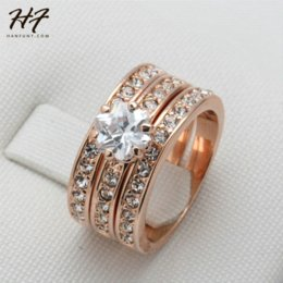 $enCountryForm.capitalKeyWord Australia - Crystal 3 Round Rose Gold Color Ring Jewelry Made with Genuine SWA ELEMENTS Crystals From Austria 4 Multi Sizes Wholesale R059