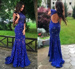 crystal champagne open back prom dress Canada - New Arrival Royal Blue Prom Dresses for Girls Mermaid Lace Shiny Beaded Crystal Open Back Graduation Dress Long Evening Party Gowns