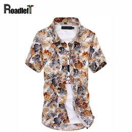 Robes Décontractées Hawaïennes Pas Cher-Vente en gros- Nouveau 2016 Mode Hommes Hawaiian Chemises Homme Short Sleeve Slim Fit Beach Floral Shirt Homme Business Casual Dress Homme Chemise Camisa