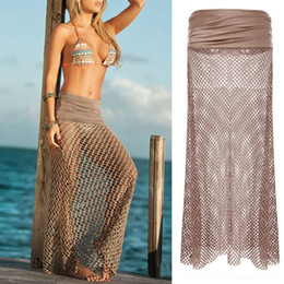Sexy Women Bikini Swimwear Cover Up Beach Dress Malha de vestido de saia de crochê oco
