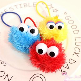 Barato Fitas De Rua De Sesame-Novo EMS 3 cores Sesame Street Headband Plush Elmo Monster Cookie Adorable Eyes Hairbands Cartoon Hair Ribbons For The Kids