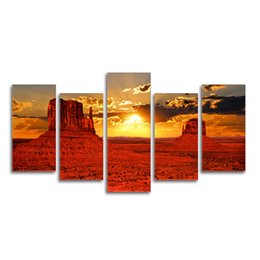 China Nature Landscape Sunset Photography Printing American Landscape Monument Valley Photo Canvas Printing Non Frame 5 Pieces for DIY suppliers