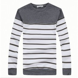 women plus t shirts UK - Plus Size M-XXXL T shirt Men Thickening Striped Casual Warm T-shirt Men O Neck Cotton Long Sleeve t shirts