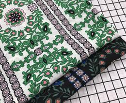 Silk Chiffon Wedding Canada - wholesale 2colour Stretch green leaves Chiffon Polyester fabric Wedding dresses, print satin floral tweed cheap-silk tulle fabric B713
