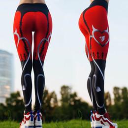 Bodycon Yoga Pants Canada - Women Red Print Sexy Slim Fitness Gym Workout Leggings Trousers Woman Fashion Athleisure Sports Yoga Elastic Skinny Bodycon Pants