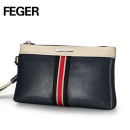 Wristlet Phone Holder Canada - Wholesale- FEGER PU Handy Zipper Purse Man Wristlet Card Holder Phone Bag Faux Leather Men Clutch Bag Siimple Zipper Wallet