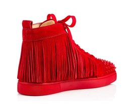 35 Hair UK - New brand men and women tassel leather horse hair red bottom high top sports shoes, design reasons flat shoes sports shoes 35-46