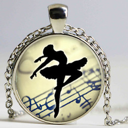 ballerina necklace wholesale Canada - Art Collage Ballerina Dancing Glass Cabochon Pendant Necklace Vintage Bronze Chain Necklace for Women Jewelry Dance Teacher Gift
